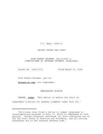 TC Memo. 2009-72 - U.S. Tax Court