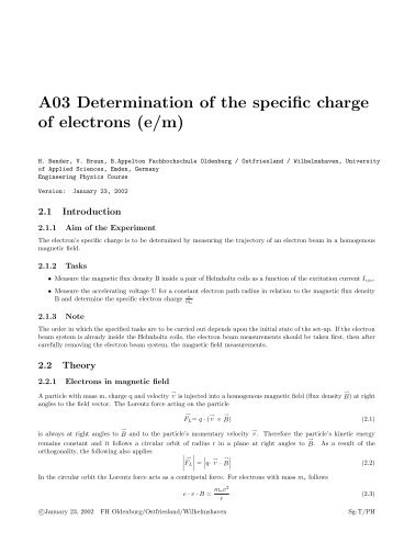 A03 Determination of the specific charge of electrons (e/m) - Technik