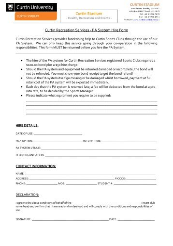 SPORTS COURT HIRE APPLICATION FORM 1 ... - Curtin Stadium