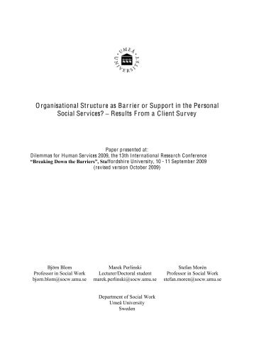 Organisational Structure as Barrier or Support in the Personal Social ...