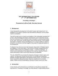 Investing in Heritage, SUIT International Colloquim - Leige
