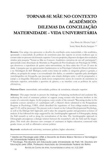 dilemas da conciliação maternidade - vida universitária. - UFRB