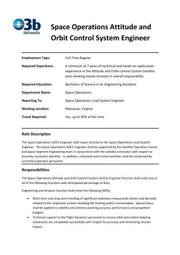 Space Operations Attitude and Orbit Control System ... - O3b Networks
