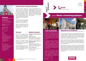 Plaquette Licence Etudes cinématographiques - Université Paris ...