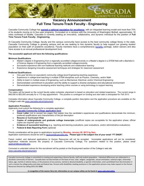 Vacancy Announcement Full Time Tenure-Track Faculty