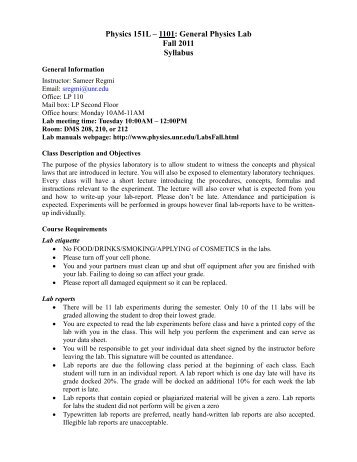 Physics 151L – 1101: General Physics Lab Fall 2011 Syllabus