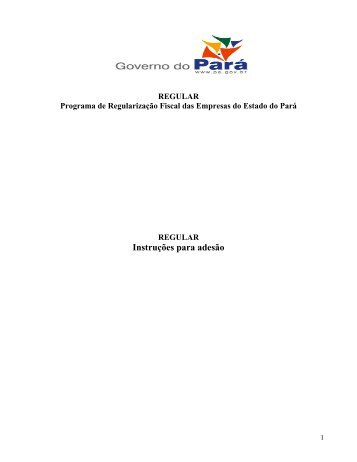 Instruções para adesão - Sefa - Governo do Estado do Pará