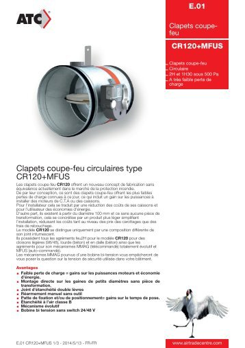 Clapets coupe-feu circulaires type CR120+MFUS - Air Trade Centre