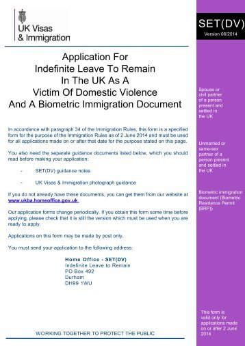 applicant on form SET(DV) - UK Border Agency - the Home Office