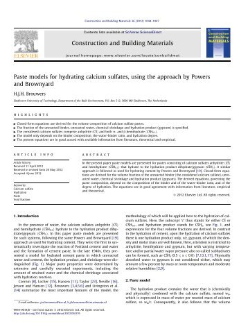 Paste models for hydrating calcium sulfates, using ... - Jos Brouwers