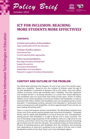 ICT for inclusion: reaching more students more effectively - Basic ...