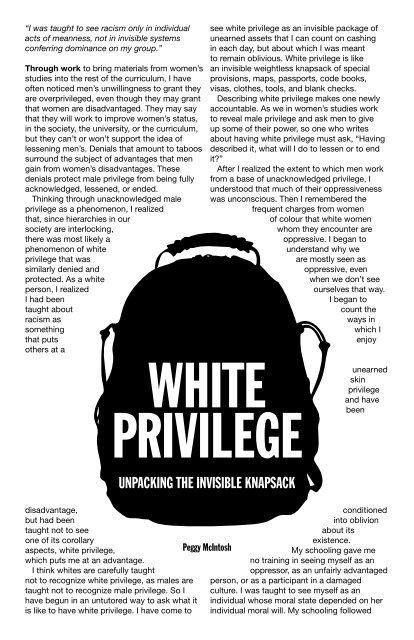 white privilege unpacking the invisible knapsack citation