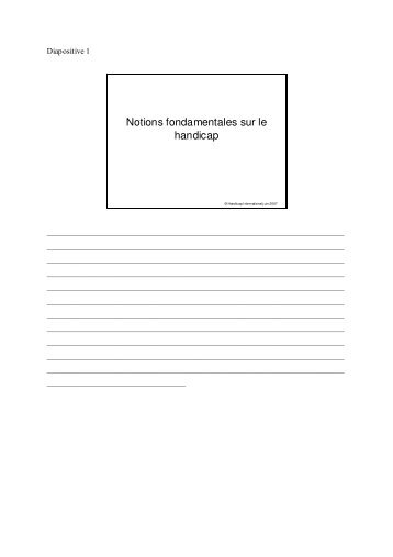Notions fondamentales sur le handicap - Handicap International