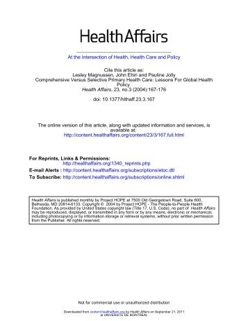 At the Intersection of Health, Health Care and Policy doi: 10.1377 ...
