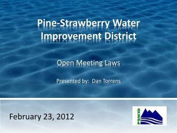 Open Meeting Law Training Material - Water For Pine Strawberry