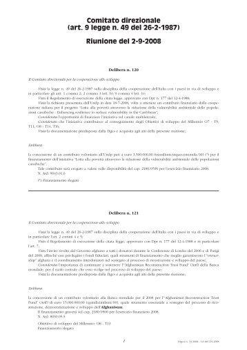 Riunione del 2 settembre 2008 - Cooperazione Italiana allo Sviluppo