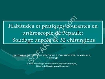 Résultats - Société française d'arthroscopie