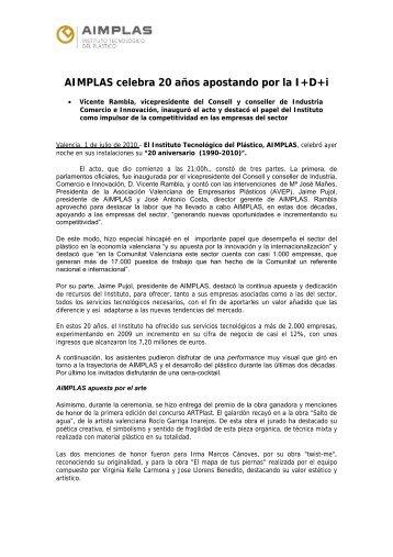 AIMPLAS celebra 20 años apostando por la I+D+i (02-07-2010)