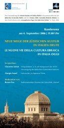 Konferenz NEUE WEGE DER JÜDISCHEN KULTUR IN ITALIEN ...