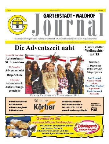 Gartenstadt Waldhof Journal November 2012 - Bürgerverein ...