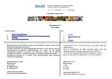 Newsletter Nr. 9 (Juni 2009) - 독일학술교류처(DAAD)