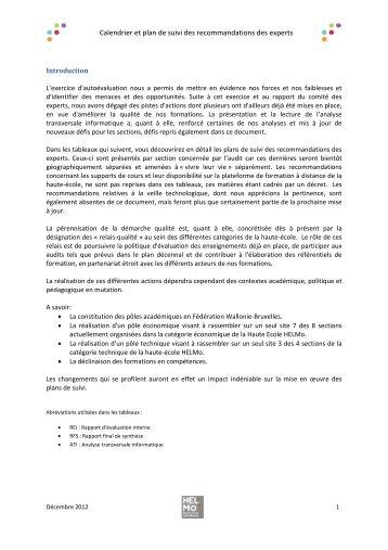 Plan de suivi Informatique HELMo - Agence pour l'Evaluation de la ...