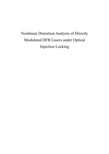 Nonlinear Distortion Analysis of Directly Modulated ... - 연세대학교