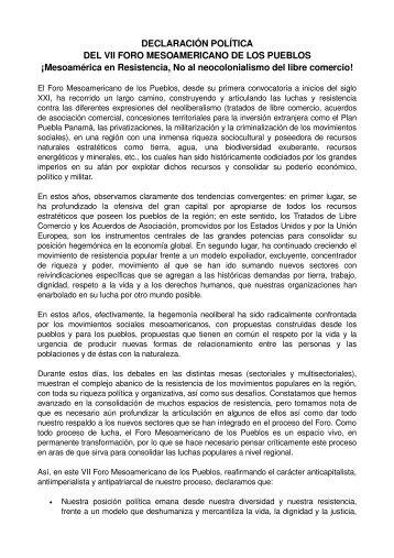 DECLARACIÓN POLÍTICA DEL VII FORO MESOAMERICANO DE ...
