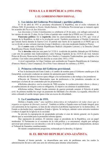 TEMA 8. LA II REPÚBLICA (1931-1936) II. EL BIENIO ...