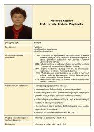 Kierownik Katedry Prof. dr hab. Izabella Zmyslowska - Uniwersytet ...