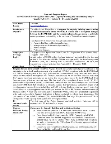 (RLF) Capacity-Building and Sustainability Project Quarter 4, CY 201