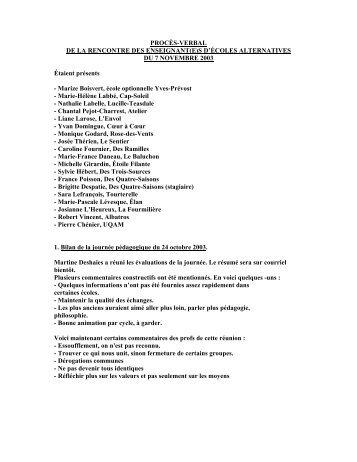 Réunion du 7 novembre 2003 - Réseau des écoles publiques ...