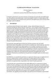 1 La pollution photochimique : les particules Christian ... - Cerea