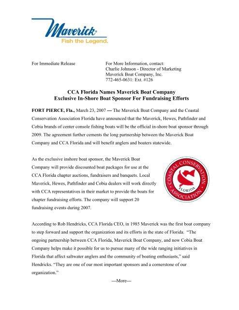 Cca Florida Names Maverick Boat Company Exclusive In Shore