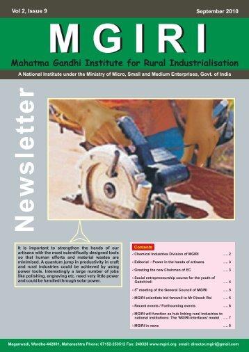 NewsLetter Sep 2010 - Mahatma Gandhi Institute for Rural ...