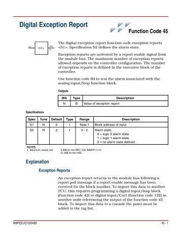 FC 45 - Digital Exception Report - ABB SolutionsBank