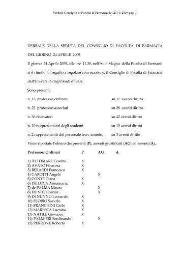 VERBALE DELLA SEDUTA DEL CONSIGLIO DI FACOLTA' DI ...