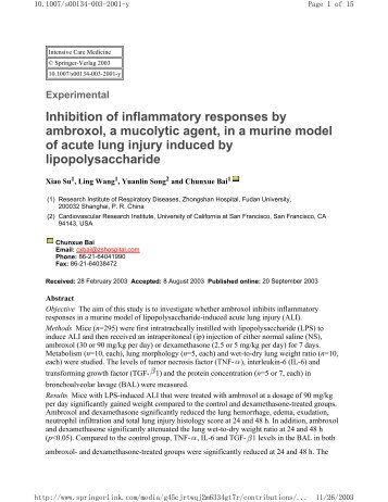 Inhibition of inflammatory responses by ambroxol, a mucolytic agent ...