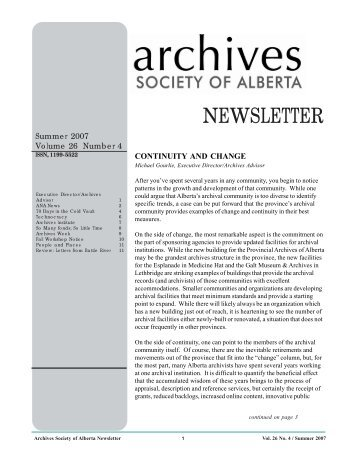 Summer 2007 Volume 26 Number 4 (PDF) - Archives Society of ...