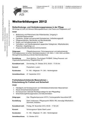 Abendveranstaltungen und Weiterbildungen 2008 - SBK Sektion ...