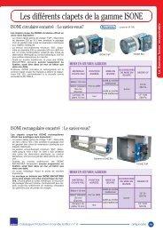 Les différents clapets de la gamme ISONE - Aldes