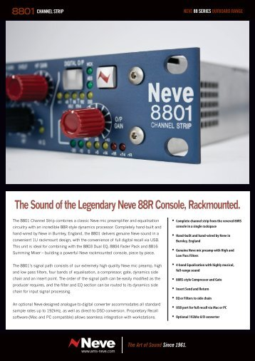 The Sound of the Legendary Neve 88R Console ... - AMS Neve