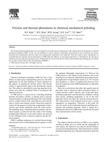 Friction and Thermal Behavior - Mechanical Engineering ...