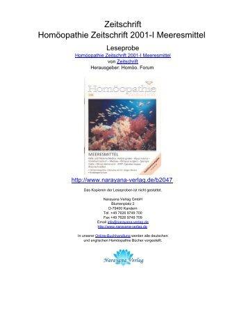Zeitschrift Homöopathie Zeitschrift 2001-I Meeresmittel