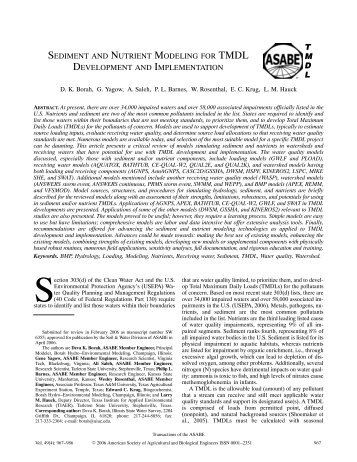 sediment and nutrient modeling for tmdl development and