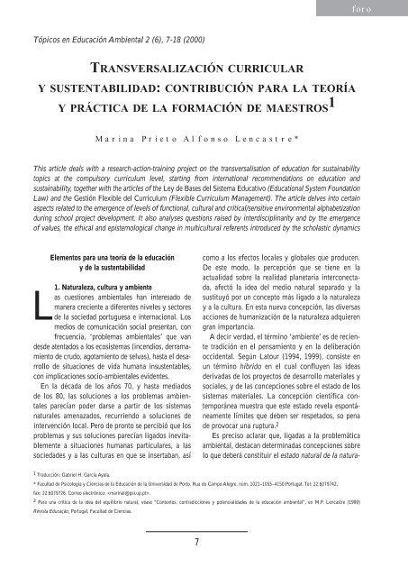 Transversalización curricular y sustentabilidad - Secretaria de ...
