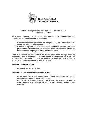Estudio de seguimiento para egresados en 2006 y 2007 Resumen ...