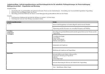 Webseite Beurteilungskriterien Pruefungsleistung MA ...