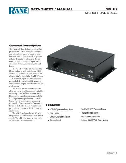 MS 1S Data Sheet / Manual