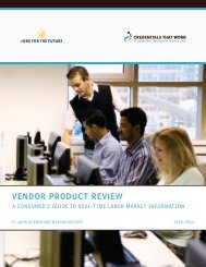 VENDOR PRODUCT REVIEW - Jobs for the Future